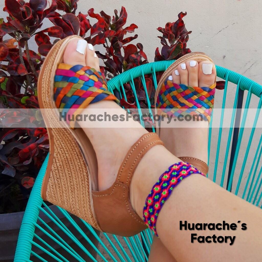 zj00169 Huarache mexicano zapato artesanal mayoreo fabrica para mujer de  plataforma - Huarache´s Factory